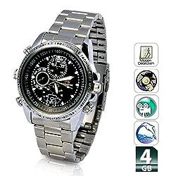 Krazzy Collection Mini HD Steel Wrist Watch with Spy Camera (ZV-WW4GBSilver-720)