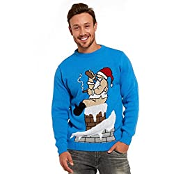inappropriate christmas sweater with drunk santa on chimney - Inappropriate Christmas Sweaters
