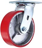 "6 Inch Swivel Caster with Brake - 6"" X 2"" Polyurethane on Iron Wheel - 1200 Lb Weight Capacity"