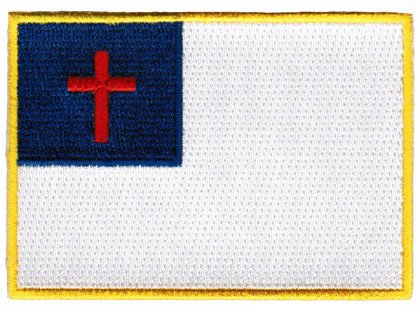 Christian Cross Flag Embroidered Patch Iron-On Religious Symbol Protestant Emblem