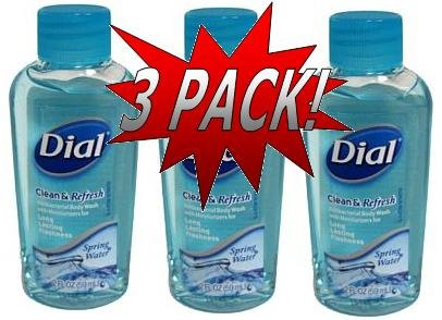 Dial Travel Size Spring Water Body Wash 3 Pack