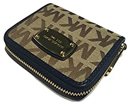 Michael Kors Zip Around Bifold Wallet Beige Ebony Navy Jacquard