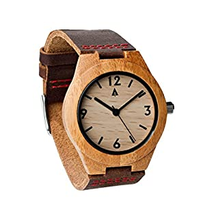 Treehut Wooden Bamboo Watch with Genuine Brown Leather Strap Quartz Analog with Quality Miyota Movement, 1.3 Inches