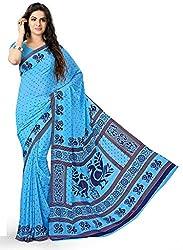 Design Willa Smooth feel Art crepe Sari (DWPC013,Blue)