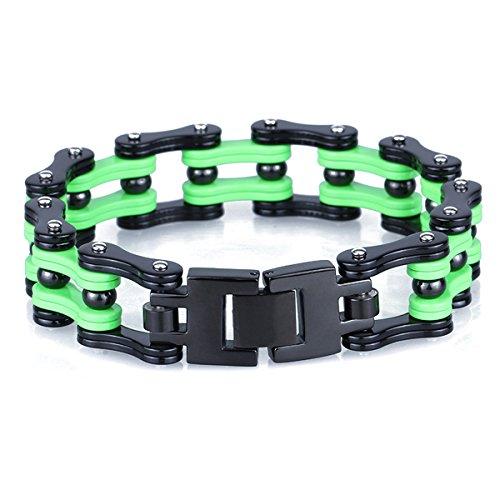 YSM-Bracciale da uomo in stile vintage, da uomo-Bracciale a catena, in acciaio INOX resistente e robusta, Bold, con chiusura a fibbia déployante, colore: nero/argento, colore: Silver+Black+Green, cod. BR0009-EU