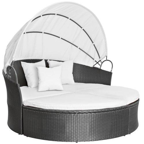 Polyrattan-Sonneninsel-Lounge-Liege-Farbwahl-inkl-Kissen-Sitzauflage-Sonnendach