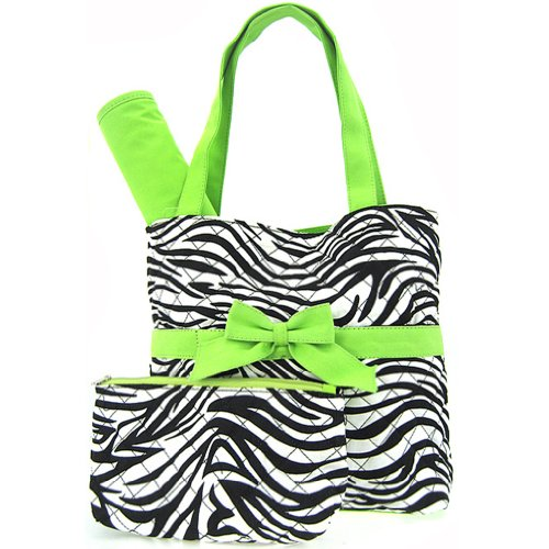 Quilted Zebra Print Diaper Bag Tote Purse 3 Piece Set w/ Changing Pad (green)