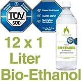 12 x 1L Bioethanol 96,6% - 12 Liter in 1L Flaschen zum handlichen & sicheren Gebrauch - TÜV geprüfte Reinheit, Qualität, Sicherheit & nachhaltige Herstellung - Made in Germany - AKTIONSPREIS NUR 2,38 EUR/L. !!!