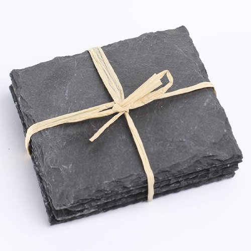 Package of 8 Real Slate Slab Coasters Tied with Decorative Jute String