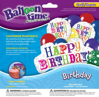 Balloon Time Balloon Pack Birthday Greetings Use W/ Helium Balloon Kit Ace 2292043