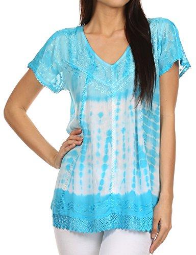 [Sakkas 776 - Violet Embroidery Tie Dye Sequin Accents Blouse / Top - Sky Blue - OSP] (Maternity Fancy Dress Uk)