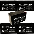 5x Pack - Fisher 212Z ISOTEMP FREEZER Battery - Replacement UB1290 Universal Sealed Lead Acid Battery (12V, 9Ah, 9000mAh, F1 Terminal, AGM, SLA) - Includes 10 F1 to F2 Terminal Adapters