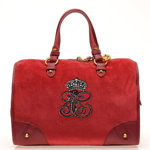 Juicy Couture Steffy Velour Tote In Red - Size One