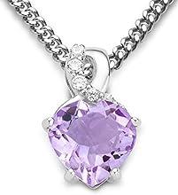 Byjoy 925 Sterling Silver Heart Shaped Amethyst Pendant on a Curb Chain of 45cm BAE147N