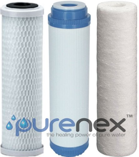 Purenex 5 Stage Reverse Osmosis Filter Replacement Set, gac, carbon and sediment