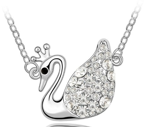 Purplelan-Fashion Necklace Austria Crystal Necklace Crystal Swan Queen 18Inch Necklace 206033