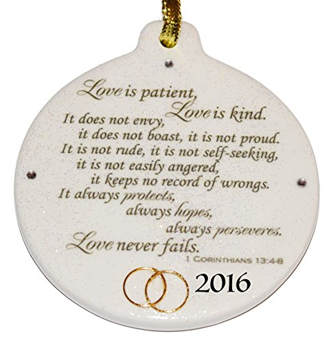 Corinthians 13.4 Love is Patient 2016 Wedding Anniversary Porcelain Ornament Rhinestone Crystal Detail