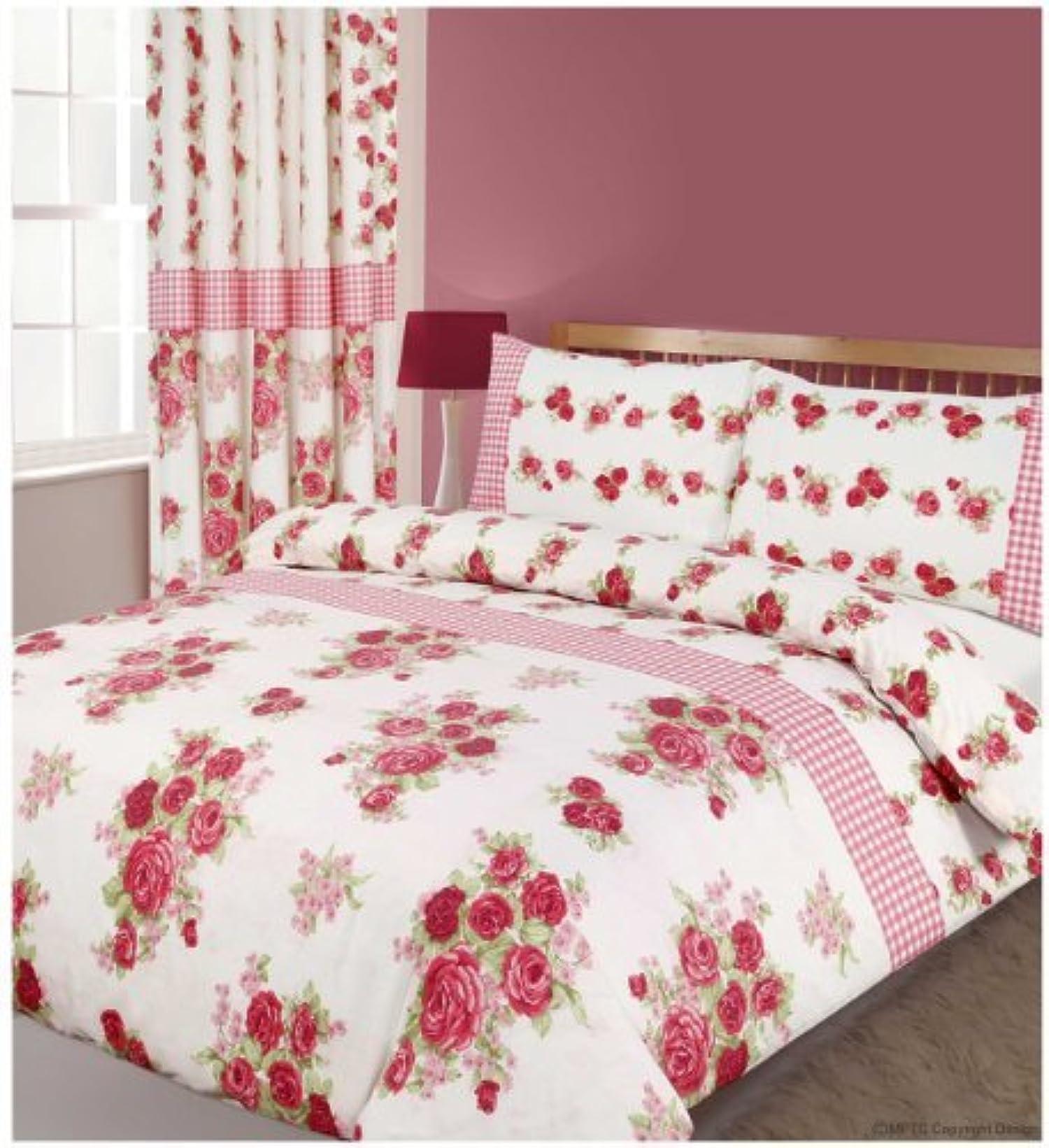 primrose pink printed floral check king size bed duvet quilt cover bedding set modern urban. Black Bedroom Furniture Sets. Home Design Ideas