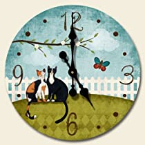 Wooden Wall Clock -Purrfect Day Cats - Made in USA
