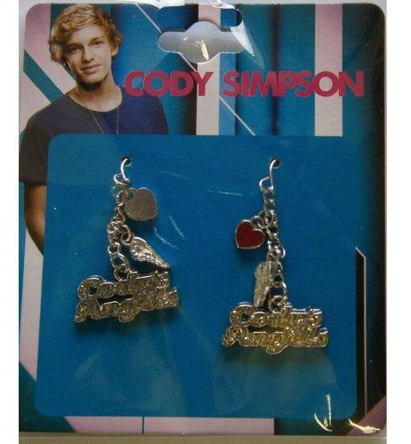Cody Simpson Earrings (Heart, Wings, 'Cody's Angels' plaque)