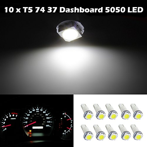 Partsam 10X Honda T5 17 37 73 74 79 Wedge Instrument Dashboard Led Light Bulb Lamp White For 1995-2012 Honda Odyssey
