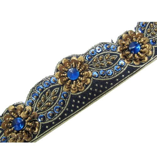 1 Yd Cut Style Blue Hand Beaded Copper Sequin Trim Lace