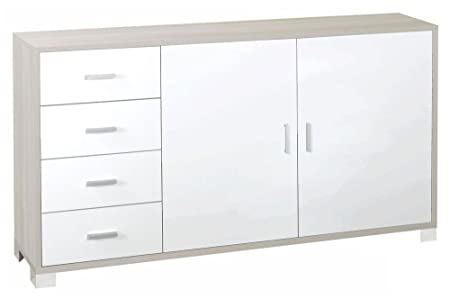 Mobile con 1 anta e 4 cassetti con struttura in olmo chiaro e finiture frontali in bianco fiammato