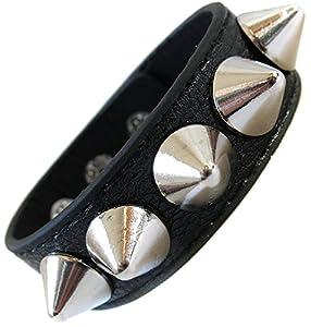 Bracelet cuir noir de force rivet Clouté Clou Biker Cuir Fetish Goth