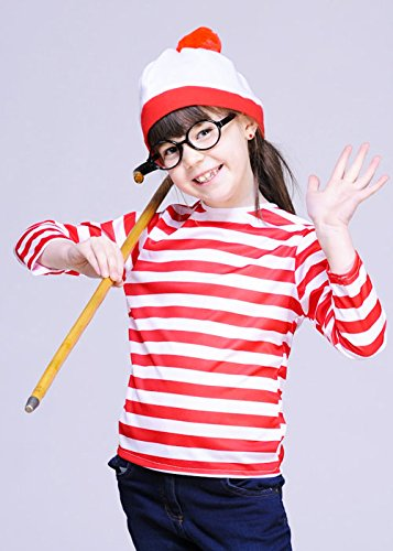 [Childrens Red and White Striped Top Small (4-6 years)] (Wheres Wally Fancy Dress Kids)