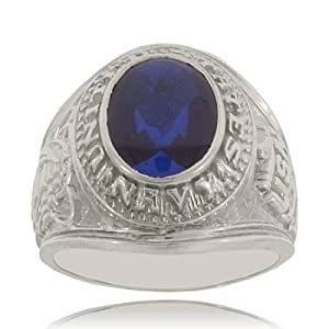 Mens U.S. Navy Ring W/ Blue Spinel in Sterling Silver