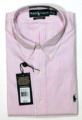 Polo Ralph Lauren Men'S Custom-Fit Striped Oxford Dress Shirt In Pink/Blue, 16/40-41