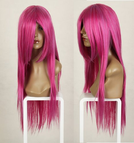 Cosplayland C116 - 80cm long straight heat resistant Theater HOT PINK Wig