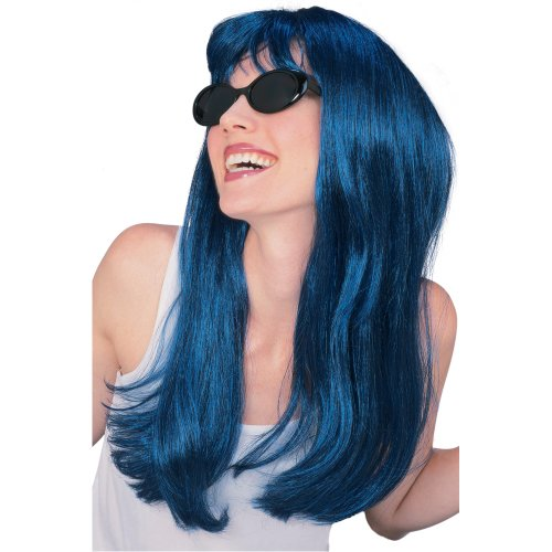 Rubie's Costume Long Glamour Wig, Blue/Black, One Size