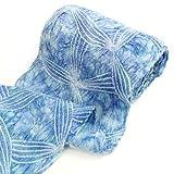 有松鳴海絞しぼり浴衣反物「青のまだら染めに花模様」一級和裁技能士の国内手縫いお仕立て付絞りゆかたブルー