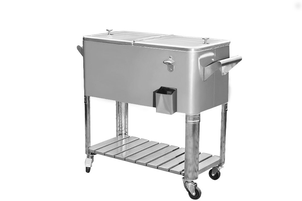 Sunjoy 80Qt Stainless Steel Patio Cooler with Shelf