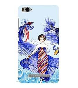 PrintVisa Fashion Fish Girl Dress Design 3D Hard Polycarbonate Designer Back Case Cover for Xiaomi Redmi MI 4C