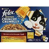 Felix Sensations Crunchy Crumbles Katzenfutter Fleisch Mix, 3er Pack (30 x 100 g + 120 g)