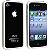 Bumper Case with Chrome Buttons for Apple Iphone 4 / 4S - Clear and White