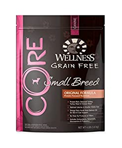 Wellness CORE Natural Grain Free Dry Dog Food,Small Breed Original Formula Turkey and Chicken Recipe,4-Pound Bag