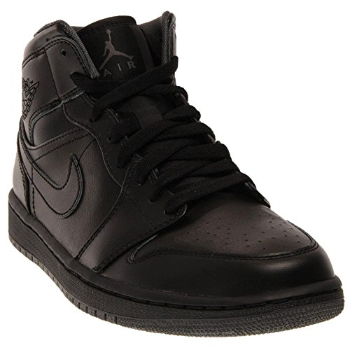 Nike Jordan Men's Air Jordan 1 Mid Black/Black/Dark Grey Basketball Shoe 11 Men US (Nike Air Shoes Men compare prices)