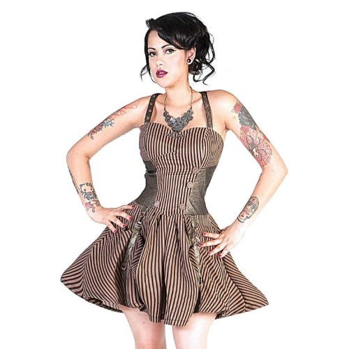 Jawbreaker Dress STRIPED STEAMPUNK DRESS brown-black L