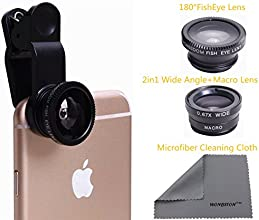 WONBSDOM 3 in 1 Universal Clips on Lenses Kit(Black) FishEye Lens+Macro+Wide Angle Lens +Microfiber Cleaning Cloth for iPhone 4S 5 5S 5C 6 itouch Samsung Galaxy S4/S5/Note 2/3/4 Blackberry HTC Sony Nokia LG Motorola,etc.