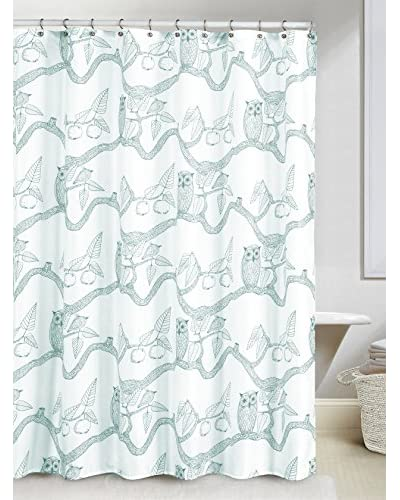 Duck River Textile Eve Owl Print Shower Curtain, Teal