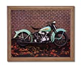 Vintage 1938 Harley Davidson Motorcycle Home Decor Wall Picture Oak Framed Art Print