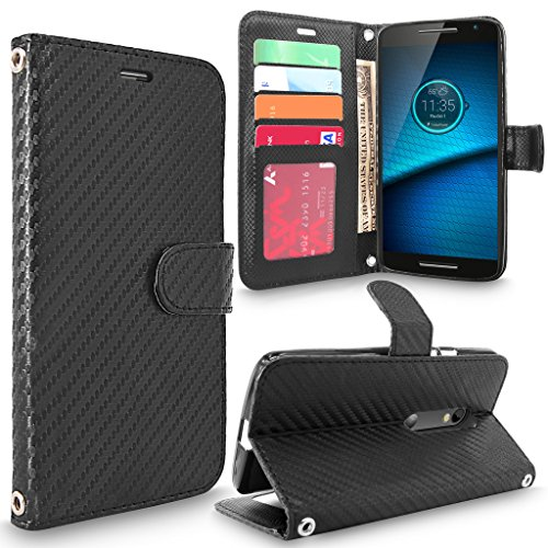 Droid Maxx 2 Case, Moto X Play Case, Cellularvilla [Stand Feature] [Card Slots] Premium Pu Leather Flip Wallet Case Cover For Motorola Droid Maxx 2 XT1565 / Moto X PLAY XT1562 (Carbon Fiber Black) (Carbon Fiber Moto X compare prices)