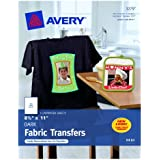 Avery Personal Creations InkJet Iron-On Dark T-Shirt Transfers, White, Five Sheets per Pack (03279)