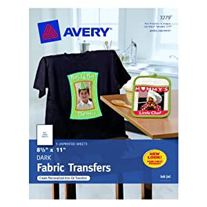 Avery personal creations inkjet iron on dark for T shirt transfer paper for dark fabrics