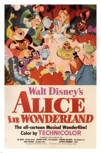 Walt Disney's Alice in Wonderland MOVIE POSTER 1951 24X36 VINTAGE CARTOON (reproduction, not an original) 0