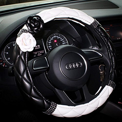 selani advanced pu leather camellia flower car steering wheel cover wrap car interior trim white. Black Bedroom Furniture Sets. Home Design Ideas
