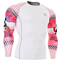 Fixgear Sports Mens Womens Compression White Base layer Running Tee shirt M